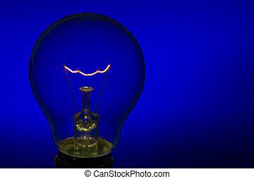 bleu, brûlé, lumière, verre, clair, fond, droit, ampoule, ...