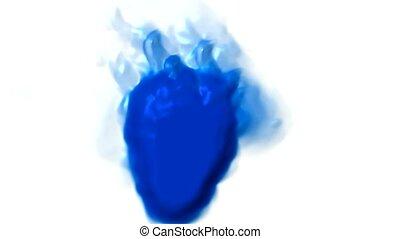 bleu, brûler, 3d