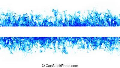 bleu, brûler, flamme, cadre, blanc, fond