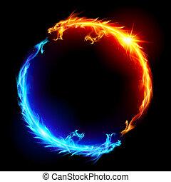 bleu, brûler, rouges, dragons