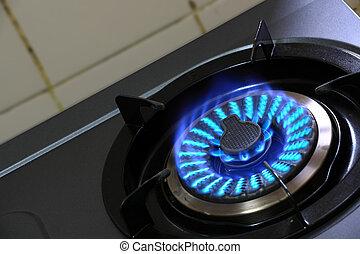 bleu, brûleur gaz, flamme