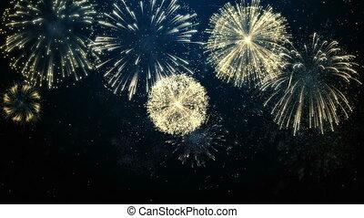 bleu, brillamment, coloré, feux artifice, evénements, célébration