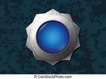 bleu, brillant, bouton, étoile