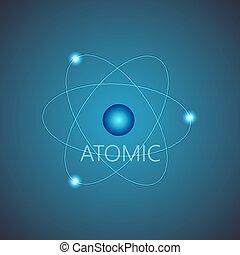 bleu, briller, scheme., fond, atome