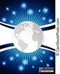 bleu, brochure, globe, éclatement, vague