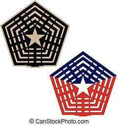bleu, bronzage, versions, illustration, vecteur, noir, blanc, pentagone, rouges