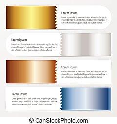 bleu, bronze, couleur, or, zigzax, argent, bannière