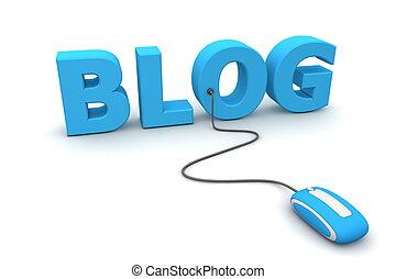bleu, brouter, souris, -, blog