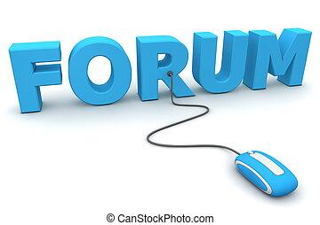 bleu, brouter, souris, -, forum