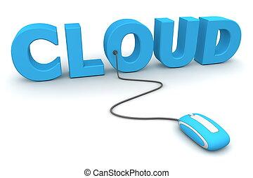 bleu, brouter, souris, -, nuage