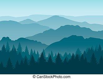 bleu, brumeux, silhouettes, fond, montagne