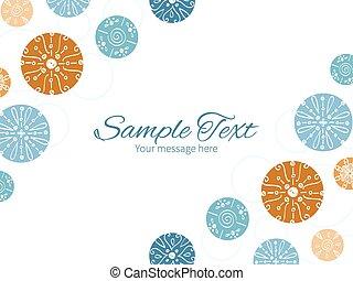 bleu, brun, cercles, vendange, résumé, invitation, dos, double, vecteur, gabarit, coins, horizontal, cadre