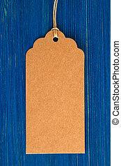 bleu, brun, ensemble, bois, coût, étiquette, papier, fond, étiquette, vide, ou, closeup.