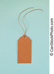 bleu, brun, ensemble, coût, ou, étiquette, papier, fond, étiquette, vide, vue., sommet