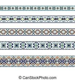 bleu, brun, ensemble, modèle, ornement, couleurs, ethnique
