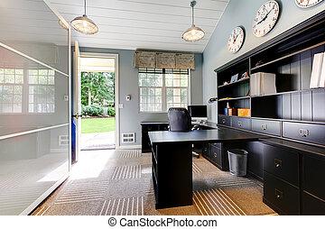 bleu, brun, furniture., bureau, moderne, sombre, conception, intérieur, maison