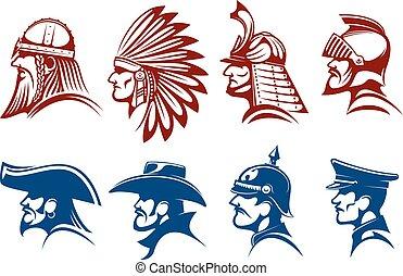 bleu, brun, guerriers, icônes, symboles, soldats