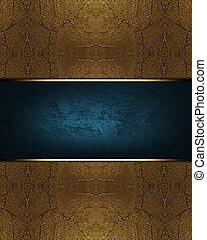 bleu, brun, plaque., fond, métal, conception, gabarit