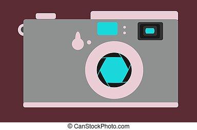bleu, brun, rose, diaphragme, appareil photo, vendange, arrière-plan., vecteur, retro, vieux, illustration.