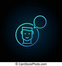 bleu, bulle, icône, parole, homme