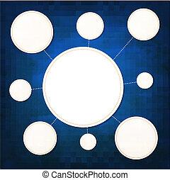 bleu, bulles, papier, parole, fond