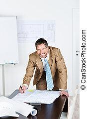 bleu, bureau, fonctionnement, architecte, bureau, impression, mâle