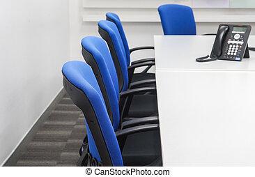 bleu, bureau, ip, téléphone, table, chaise, réunion, blanc