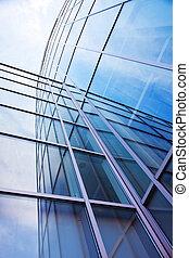 bleu, bureau, moderne, ciel, verre, façade
