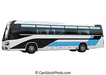 bleu, bus.