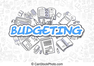 bleu, business, budgétiser, concept., word., -, dessin animé