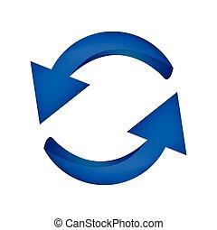 bleu, business, concept., isolé, illustration, symbole, arrière-plan., vecteur, flèche, blanc, icône