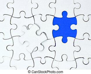 bleu, business, concept., une, pice, blanc, puzzle