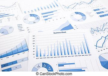 bleu, business, diagrammes, graphiques, rapports, et,...