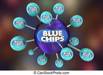 bleu, but, sommet, illustration, priorité, réseau, connexion, chips, compagnie, 3d