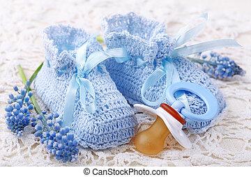 bleu, butins bébé, fait main