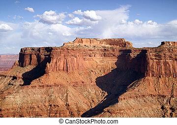 bleu, buttes, nuages, canyonlands, gonflé, ciel, canyon,...