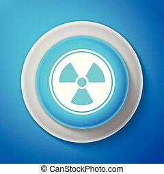 bleu, button., radioactif, signe., radiation, isolé, danger, symbole., arrière-plan., vecteur, illustration, toxique, cercle, icône