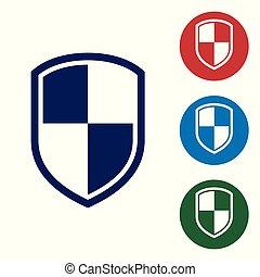 bleu, buttons., ensemble, couleur bouclier, signe., isolé, illustration, arrière-plan., garde, vecteur, cercle blanc, icône