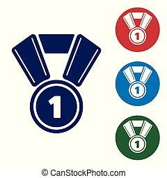 bleu, buttons., ensemble, couleur, gagnant, isolé, illustration, symbole., arrière-plan., vecteur, blanc, médaille, cercle, icône