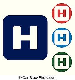 bleu, buttons., ensemble, couleur, hôpital, isolé, illustration, signe, arrière-plan., vecteur, cercle blanc, icône