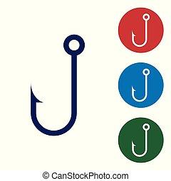 bleu, buttons., ensemble, crochet, couleur, isolé, illustration, arrière-plan., vecteur, peche, cercle blanc, icône