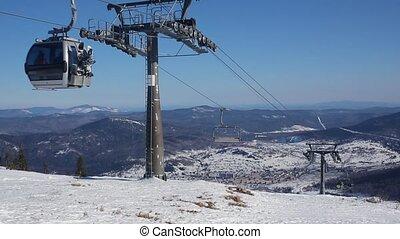 bleu, câble, gondole, ciel, contre, ascenseur, voiture, ski