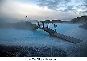 bleu, célèbre, islandais, spa, lagune