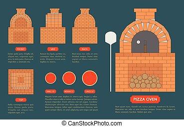bleu, côté, fait, four, briques, dos, sommet, fond, pizza, devant, vue