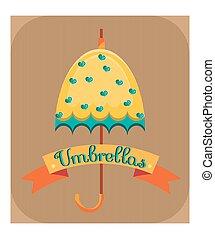 bleu, cœurs, parapluie, jaune