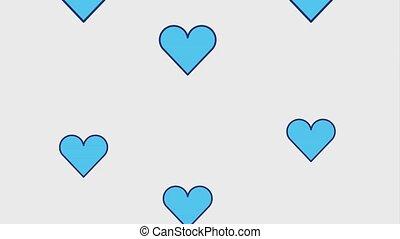 bleu, cœurs, tomber, amour, romantique