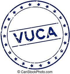 bleu, cachet, vuca, mot, complexité, timbre, ambiguity), grunge, caoutchouc, (abbreviation, rond, blanc, incertitude, volatility, fond