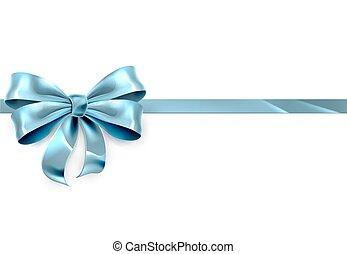 bleu, cadeau, fond, arc