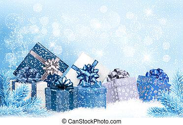 bleu, cadeau, snowflakes., boîtes, vecteur, fond, noël