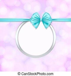 bleu, cadre, decoration., illustration, arc, vecteur, ruban, rond, argent